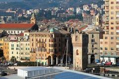 Tower Guarda and city. Savona, Italy Royalty Free Stock Photos
