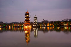 Tower in guilin at night Royalty Free Stock Photos