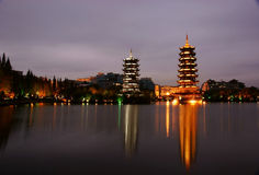 Tower in guilin nightscape Stock Photography