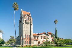 Tower Hall and Washington Square at San Jose State University stock images
