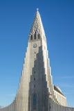 The tower of the Hallgrimskirkja in Reykjavik, Iceland. REYKJAVIK, ICELAND - APRIL 7 - 2016: The tower of the Hallgrimskirkja in Reykjavik, Iceland stock photography