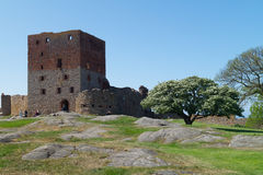 The tower of Hammershus Castle. The ruins of the central tower of the medieval castle of Hammershus at Bornholm, Denmark Stock Photos