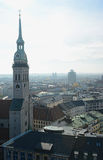 Tower of Heiliggeistkirche church in Munich. Aerial view Stock Images