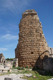 Tower of the Hellenistic Gate  in the ancient Greek city of  Per. Ge,  Turkey Royalty Free Stock Photography