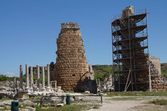 Tower of the Hellenistic Gate. In the ancient Greek city of  Perge,  Turkey Stock Photos