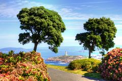 View of Tower of Hercules from the Monte de San Pedro Park of La Coruna, Spain.n. royalty free stock photography