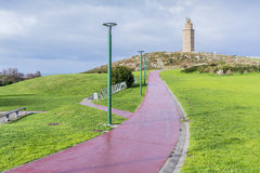 Tower of Hercules in A Coruna, Galicia, Spain. Tower of Hercules, the almost 1900 years old and rehabilitated in 1791 55 metres tall structure is the oldest Royalty Free Stock Images