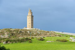 Tower of Hercules in A Coruna, Galicia, Spain. Tower of Hercules, the almost 1900 years old and rehabilitated in 1791 55 metres tall structure is the oldest Royalty Free Stock Image