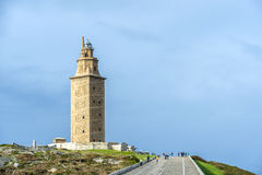 Tower of Hercules in A Coruna, Galicia, Spain. Tower of Hercules, the almost 1900 years old and rehabilitated in 1791 55 metres tall structure is the oldest Royalty Free Stock Photography