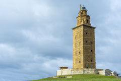 Tower of Hercules in A Coruna, Galicia, Spain. Tower of Hercules, the almost 1900 years old and rehabilitated in 1791 55 metres tall structure is the oldest Royalty Free Stock Photos