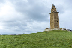 Tower of Hercules in A Coruna, Galicia, Spain. Tower of Hercules, the almost 1900 years old and rehabilitated in 1791 55 metres tall structure is the oldest Stock Photo