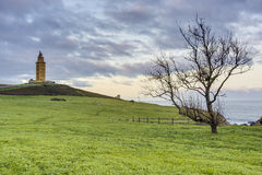 Tower of Hercules in A Coruna, Galicia, Spain. Tower of Hercules, the almost 1900 years old and rehabilitated in 1791 55 metres tall structure is the oldest Stock Image