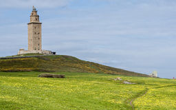 Tower of Hercules, A Coruña, Spain. Tower of Hercules, the almost 1900 years old and rehabilitated in 1791 55 metres tall structure is the oldest Roman Royalty Free Stock Image