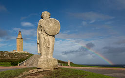 Tower of Hercules and Statue to Breoghan Royalty Free Stock Image