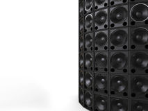 Tower of hifi bass speakers Stock Photo