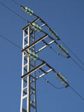 Tower of high-voltage cables with the sky Stock Photo