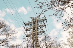 Tower of high voltage power transmission against the sky royalty free stock photography