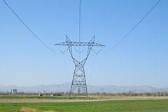 Electricity transfer lines tower. Tower and high voltage Wires for transfer of electricity between the cities Royalty Free Stock Photography