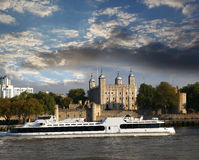 The Tower Hill Castle in London with boat Royalty Free Stock Images