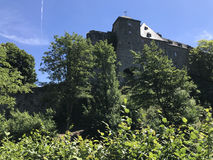 Tower on a hill in Monschau Stock Images
