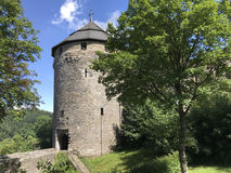 Tower on a hill in Monschau Stock Image