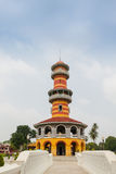 Tower (Ho Withun Thasana) at Bang Pa-In Royal Palace, Thailand. Tower (Ho Withun Thasana) with blue sky at Bang Pa-In Royal Palace, Thailand Stock Photo