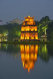The tower on the Hoankiem lake at night. Hanoi Stock Image