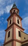 Tower of Holy Cross church (circa XVII c.). Offenburg, Germany Royalty Free Stock Photo