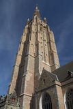 Tower of  the Holy Savior Cathedral in Bruges (Belgium) Royalty Free Stock Photo