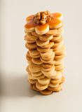 Tower of homemade butter cookies with caramel, top view Stock Images