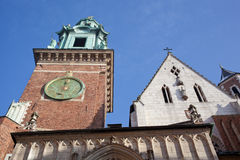 Tower with hours in the castle Wawel Stock Photos