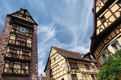 Tower and houses, Alsace Royalty Free Stock Photography