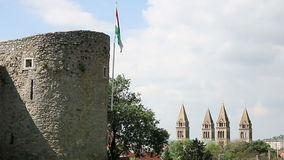 Tower with Hungarian flag Pecs stock footage