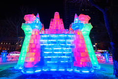 The tower ice sculpture. The photo was taken in Zhaolin park   Harbin city Heilongjiang province,China Stock Image