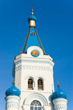 Tower with icon. Tower of Orthodox church with icon and bells Stock Image