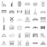 Tower icons set, outline style. Tower icons set. Outline style of 36 tower vector icons for web isolated on white background Royalty Free Stock Image