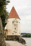 Tower at the Inn Promenade in Passau Royalty Free Stock Photos