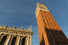 Tower inside San Marco square, Venice landmark in Italy Stock Images