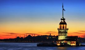 Tower-Istanbul. The Maiden's Tower in Istanbul-2010 European Capital of Culture Royalty Free Stock Photo