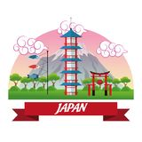 Tower japan culture design. Tower building mountain trees arch fish japan culture landmark asia famous icon. Colorful design. Vector illustration Stock Photos