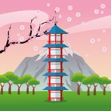 Tower japan culture design. Tower building mountain trees japan culture landmark asia famous icon. Colorful design. Vector illustration Royalty Free Stock Photo
