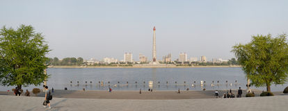 Tower of the Juche Idea, Pyongyang. Panorama of Pyongyang with Juche Tower and Taedong river Royalty Free Stock Photography