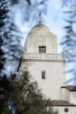 Tower of Presidio park framed by leaves. The tower of the Juniper Serra museum in Presidio park in San Diego, California framed by leaves Stock Images