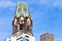 Tower of Kaiser Wilhelm memorial church Royalty Free Stock Photography