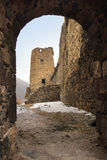 The tower of Khertvisi fortress in winter, Georgia Royalty Free Stock Photos