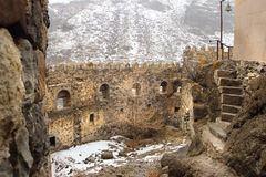 The tower of Khertvisi fortress in winter, Georgia Royalty Free Stock Photo