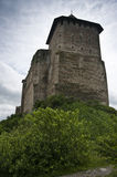 Tower of the Khotyn castle. Hill with a tower of an ancient Khotyn castle stock images