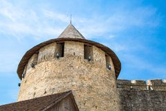 Tower of Khotyn fortress. Massive masonry of the Middle Ages royalty free stock image