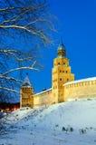 Tower Kokui and Intercession tower of  Novgorod Kremlin. By winter night, Veliky Novgorod Stock Photography