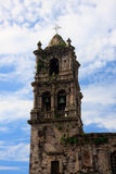 Tower of Kopala Church. Close up of the tower of Kopala church in Mexico stock photography